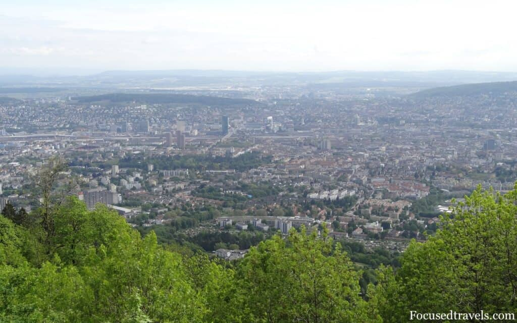 The view from Uetliberg Mountain Zurich