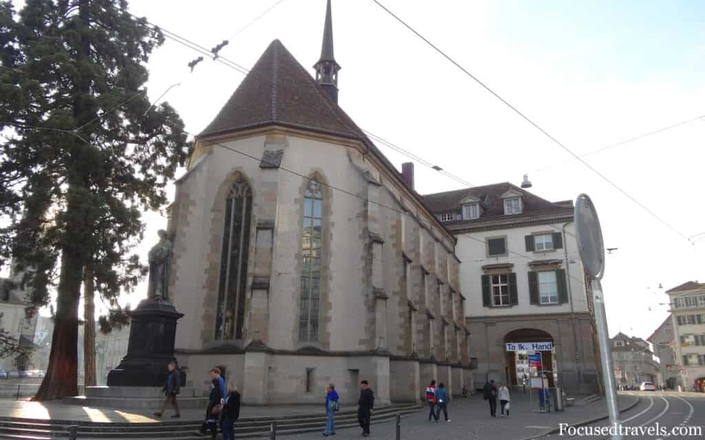Strolling through Zurich - Wasserkirche with Huldrych Zwingli statue