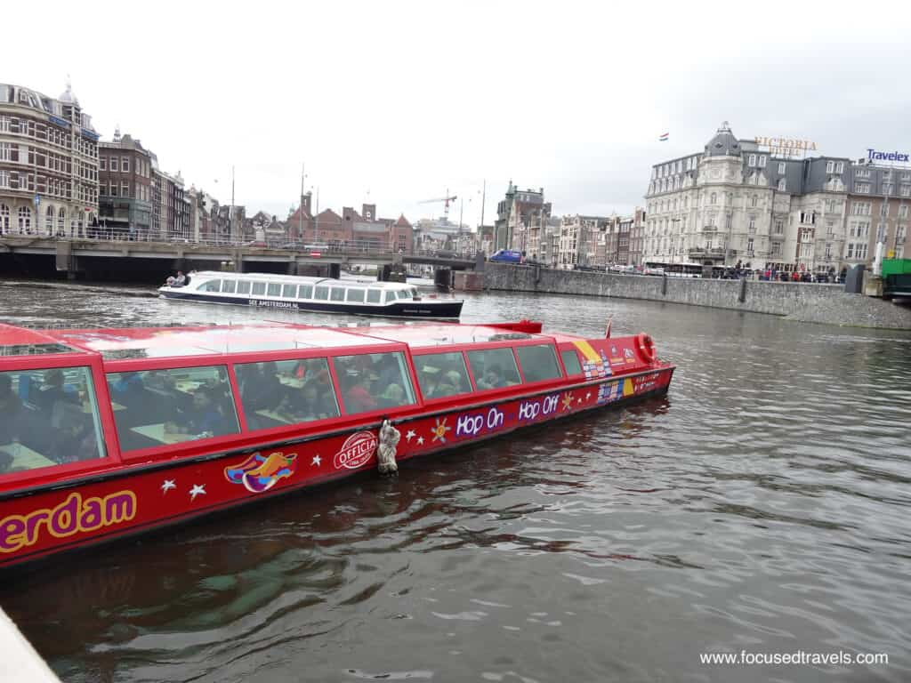 The Hop On Hop Off sightseeing boat in Amsterdam