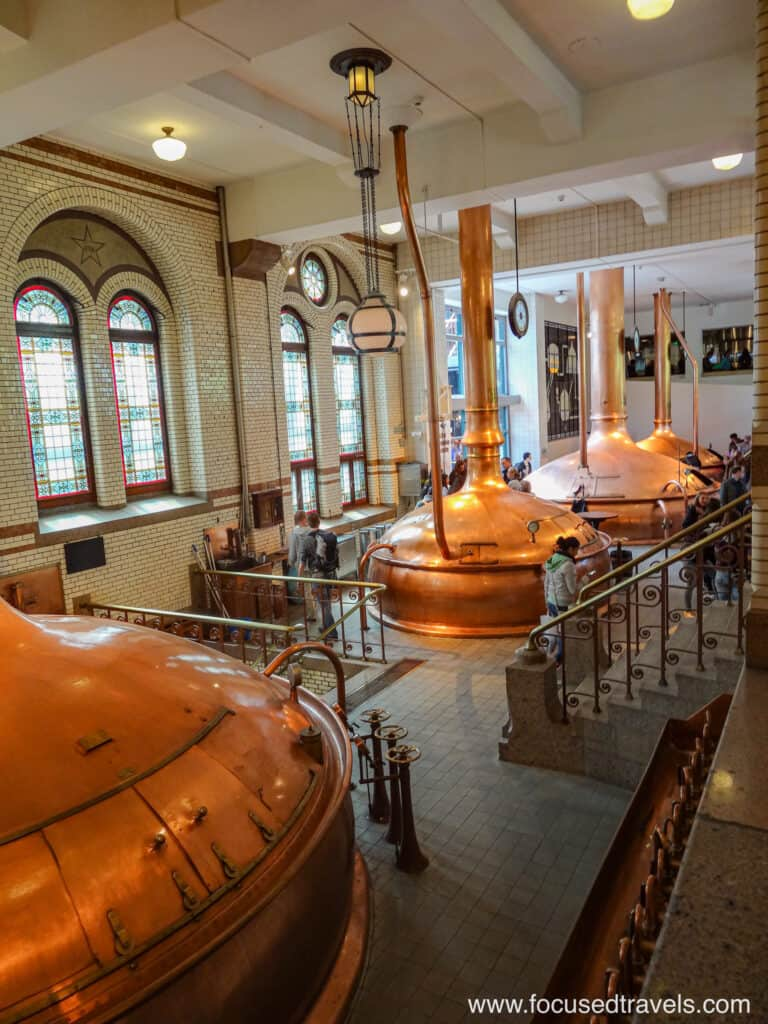 Beer brewing copper kettles at the Heineken Museum