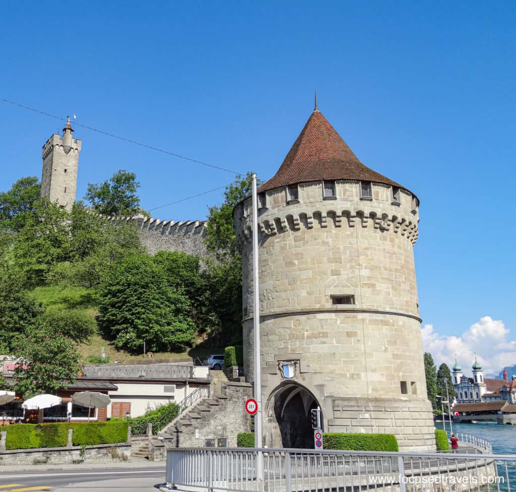 Old city wall in Lucerne, Switzerland