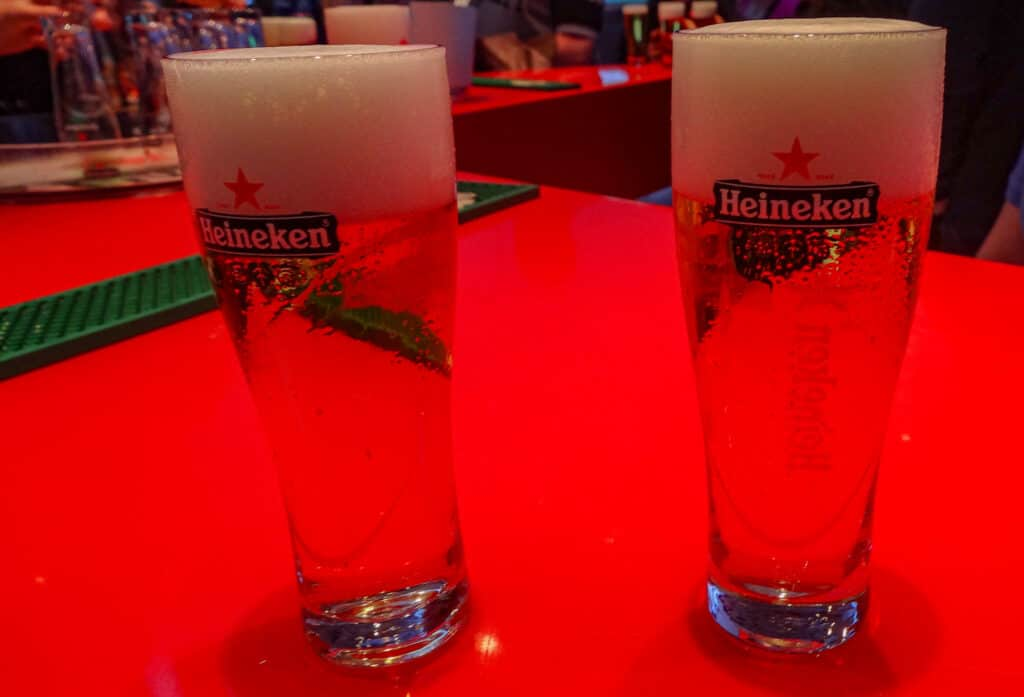 Our first Heineken beers for the day after learning how to drink a beer