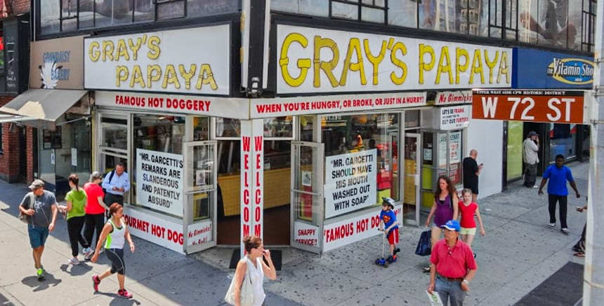 Gray's Papaya for cheap hotdogs and juice