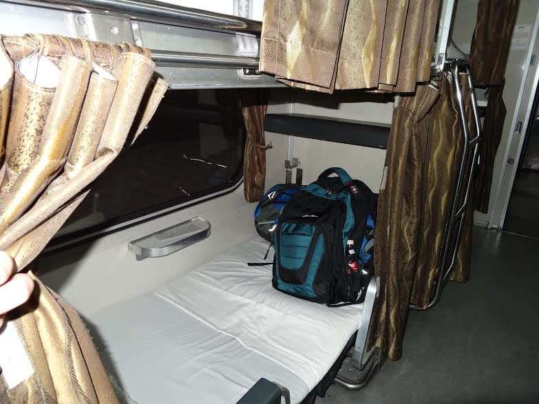 Night train from Kuala Lumpur to Singapore - our beds in economy class