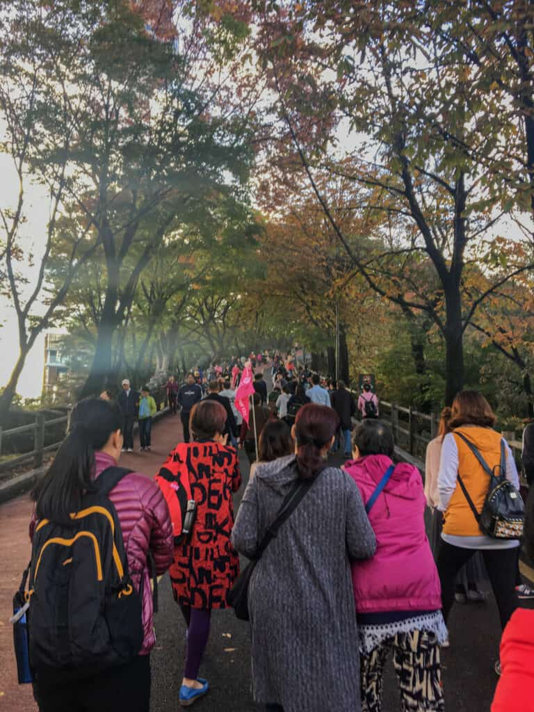 Namsan Seoul Tower - crowds on the way up