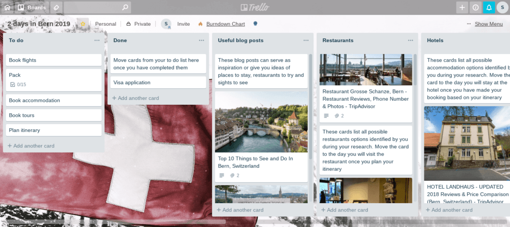 Free sample board for travel planning with Trello
