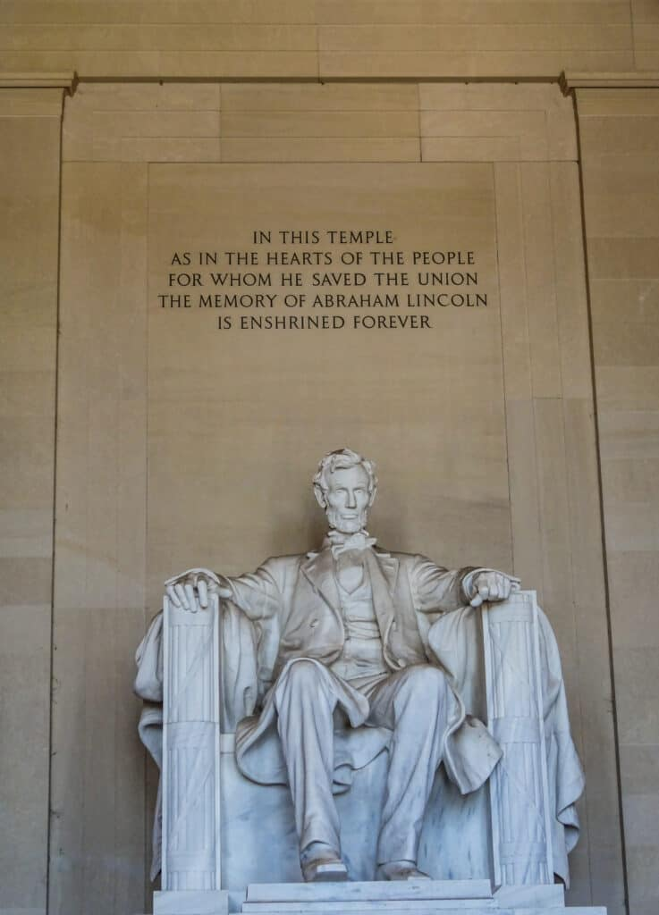 National Mall in Washington - Lincoln sitting inside the Lincoln Memorial