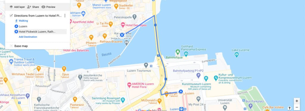 Map view of the location of the Hotel Pickwick Luzern