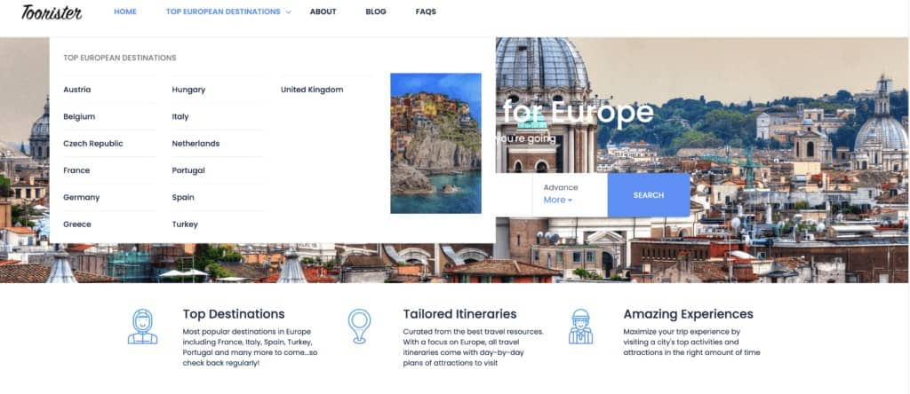 Toorister - resource for itinerary planning