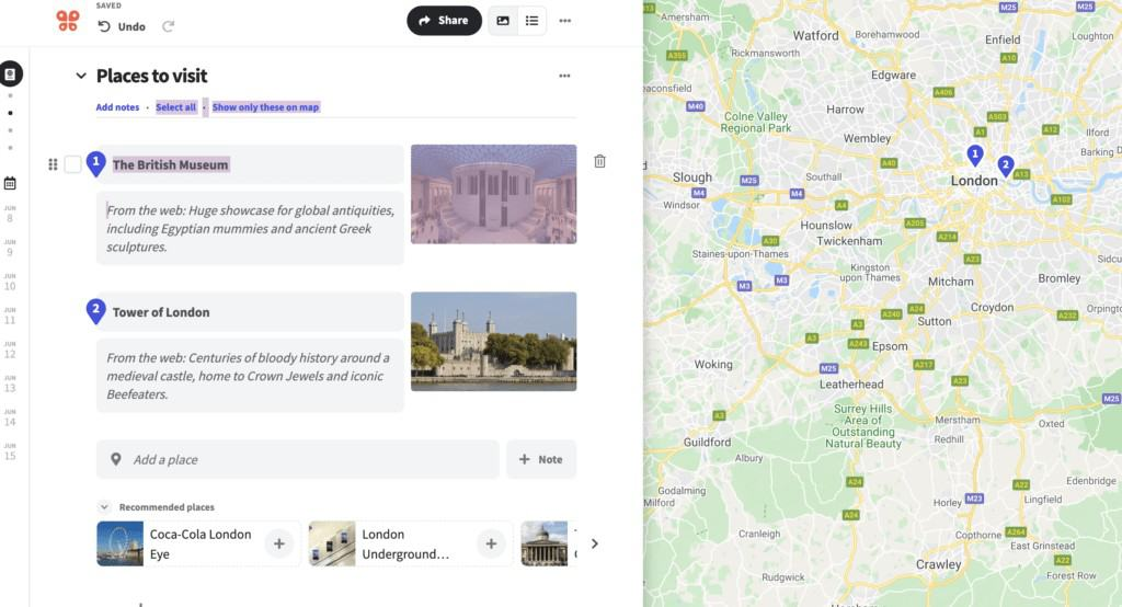 Wanderlog - listing your places to visit on your itinerary