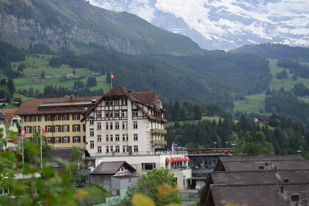 The location of your accommodation can help you save money on other travelling costs like this one in Wengen that saved us on train costs