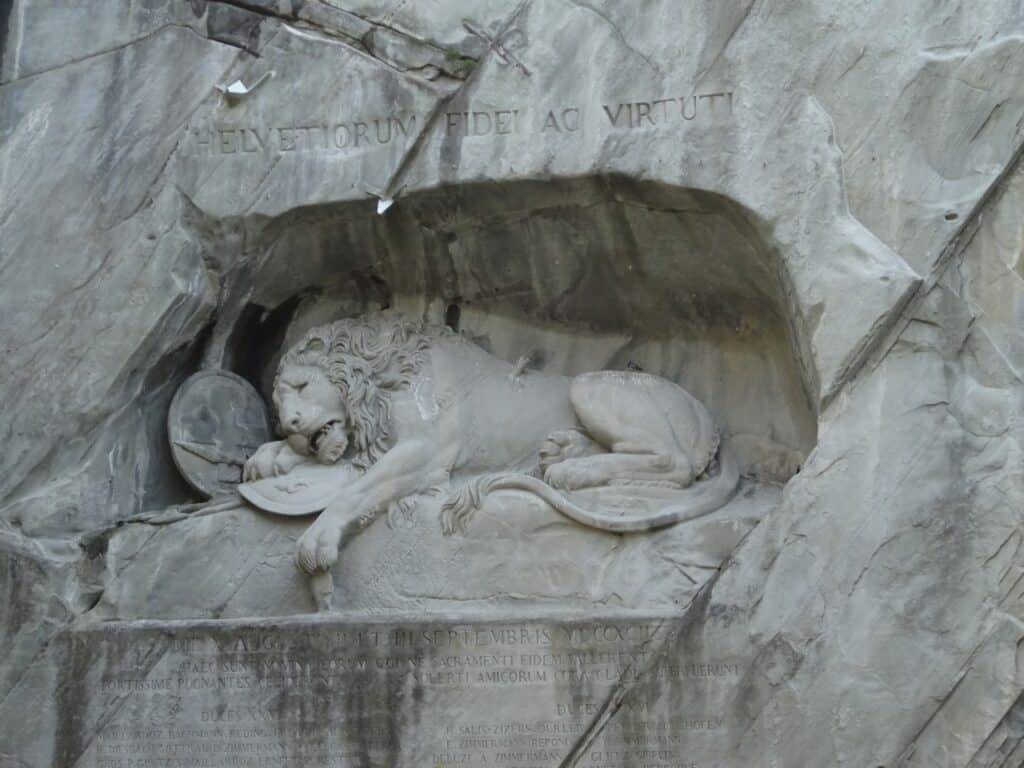 The famous lion monument in Lucerne Switzerland